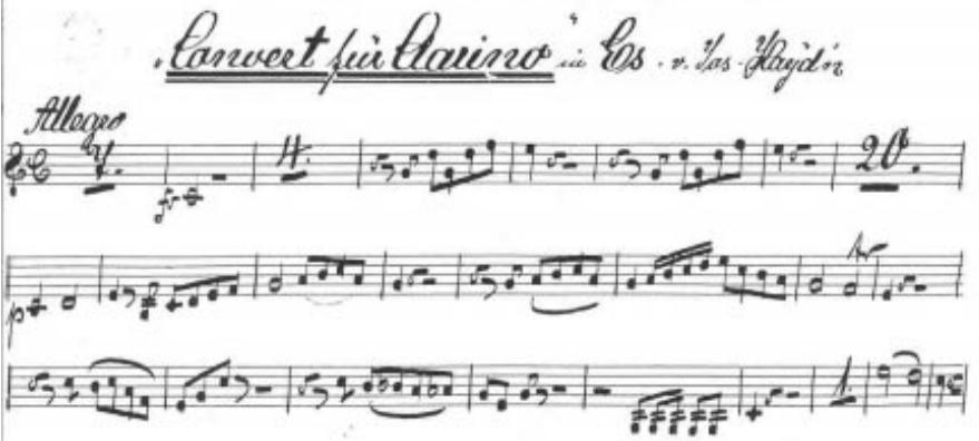 Ilustración 6. Manuscrito de Haydn