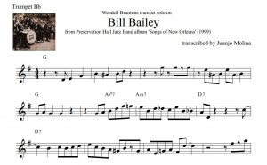 bill bailey wendell brunious trumpet solo transcription