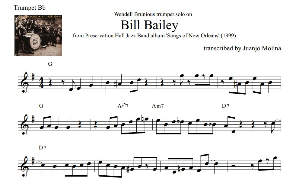 Bill Bailey – Wendell Brunious trumpet solo transcription