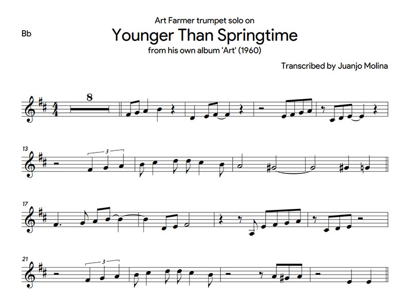 Younger than springtime – Art Farmer trumpet solo transcription